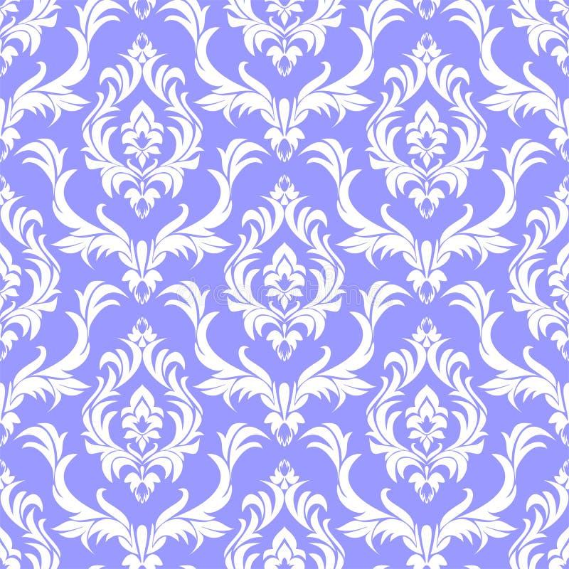 无缝的在蓝色的锦缎白色样式在减速火箭的样式 库存例证