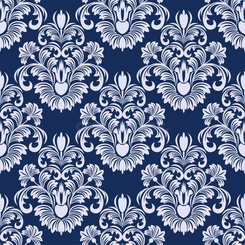 无缝的在蓝色颜色的锦缎花卉样式 皇族释放例证