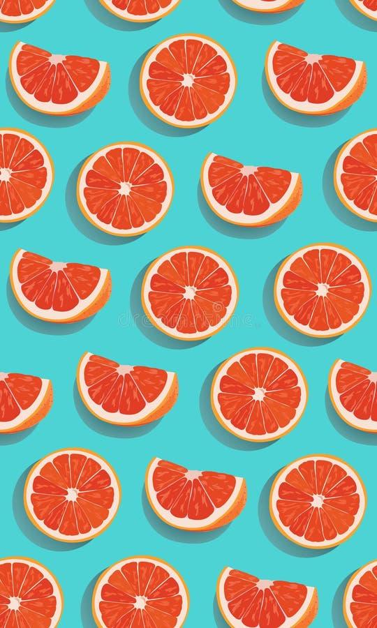 无缝的在青绿的背景的样式切片橙色果子 葡萄柚传染媒介 库存例证