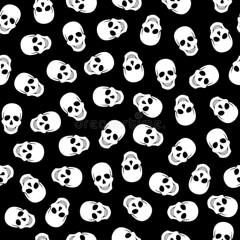 无缝的在黑背景的样式白色头骨 向量例证