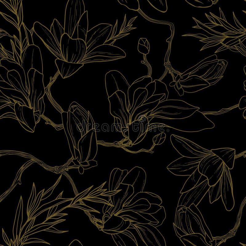 无缝的在黑背景的葡萄酒浪漫花卉样式 库存例证
