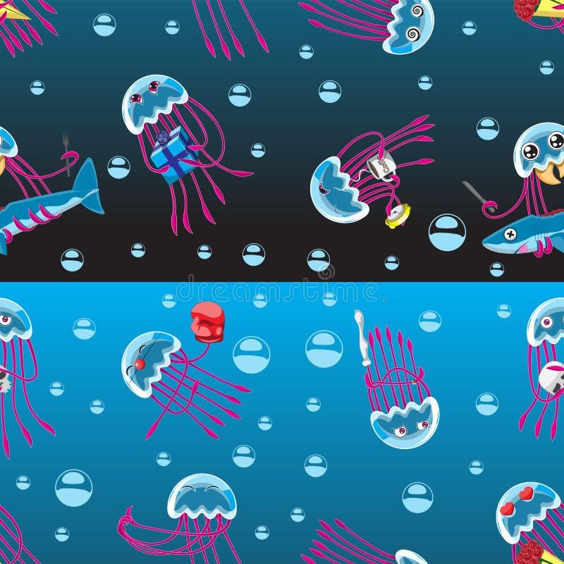 无缝的在黑蓝色背景的背景字符水母情感项目自创泡影 打印纺织品横幅的孩子 向量例证
