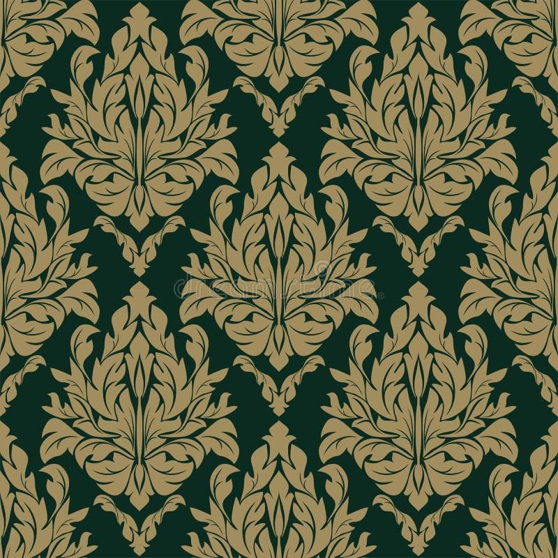 无缝的在黑暗的背景的锦缎花卉样式 向量例证
