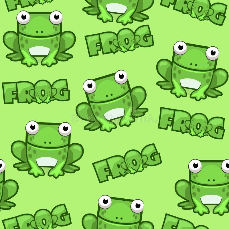 无缝的在绿色背景的样式逗人喜爱的动画片正方形青蛙 皇族释放例证