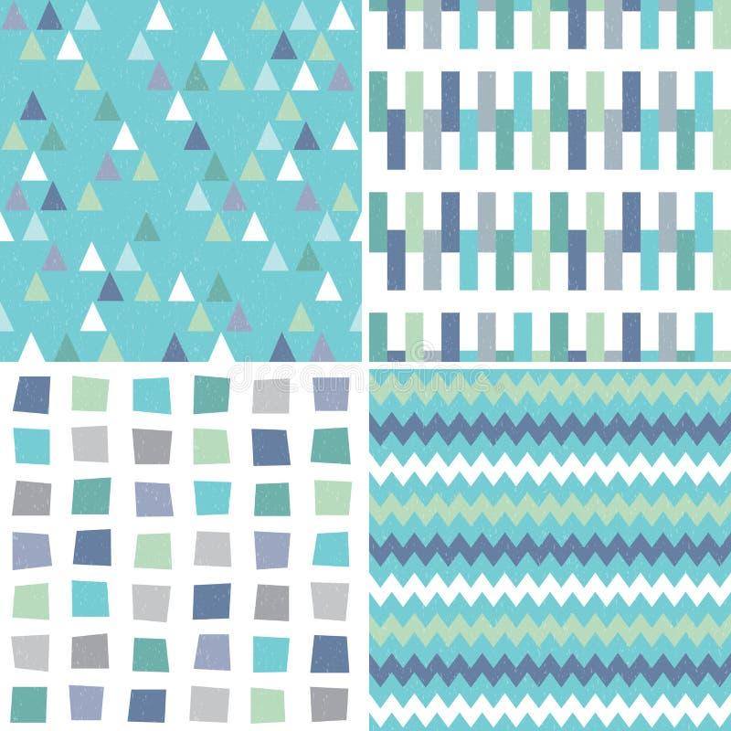 无缝的在水色蓝色和灰色的行家几何样式 库存例证