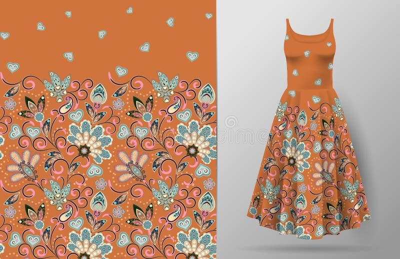 无缝的垂直的幻想花纹花样 在礼服大模型的手凹道花卉背景 向量 传统东部 向量例证