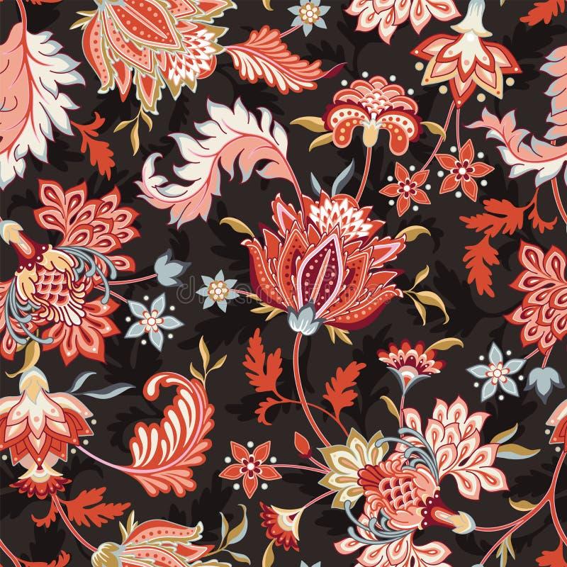无缝的墙纸和纺织品的传染媒介花卉样式 向量例证