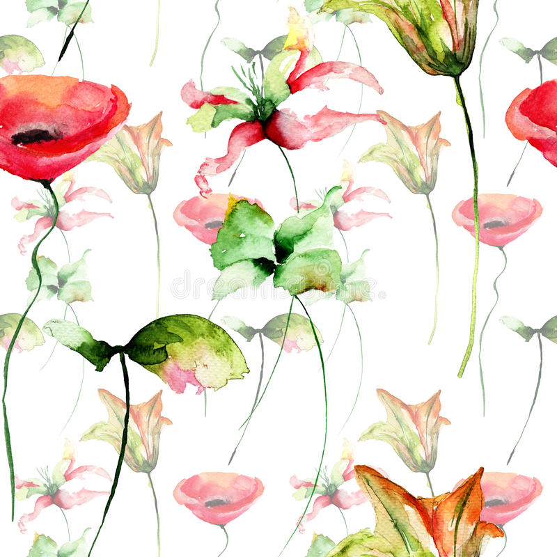 无缝的墙纸野花 向量例证