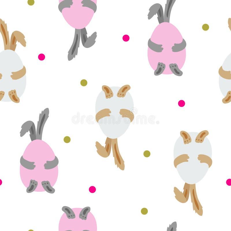 无缝的复活节兔子样式 逗人喜爱的例证 向量例证