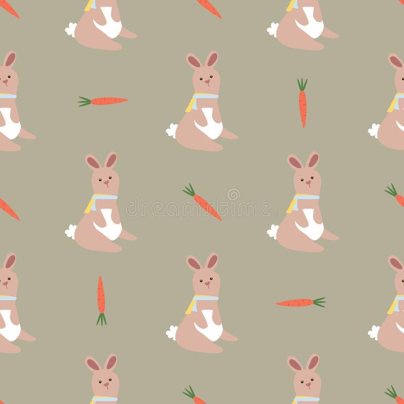 无缝的复活节样式用兔子和红萝卜纹理的,背景,信封,包裹 库存例证