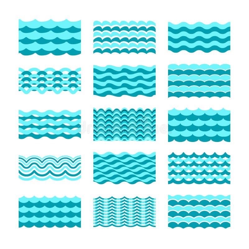 无缝的大海波向量瓦片为样式和纹理设置了 皇族释放例证