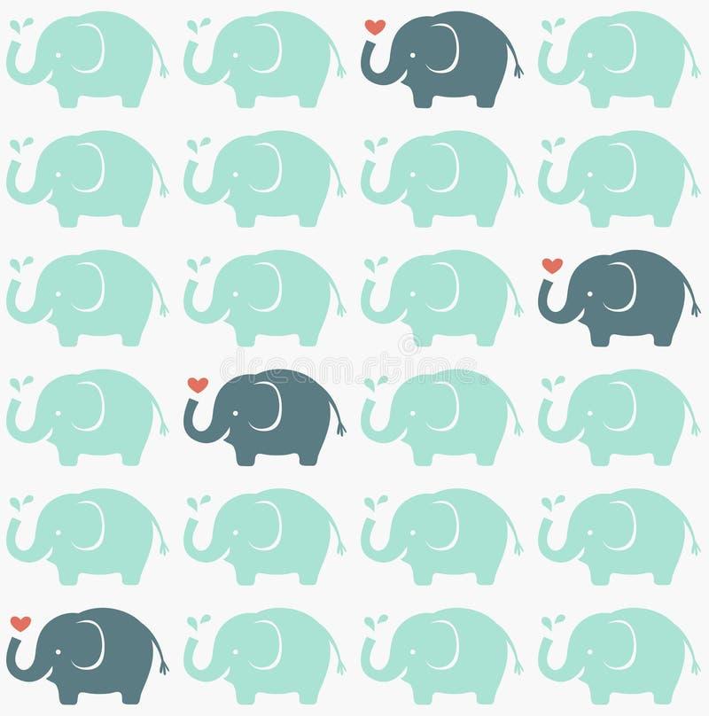 无缝的大象织品样式 库存例证