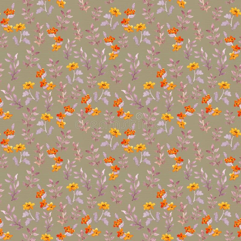 无缝的天真花卉模板 逗人喜爱的花,在棕色背景的叶子 水彩 库存例证