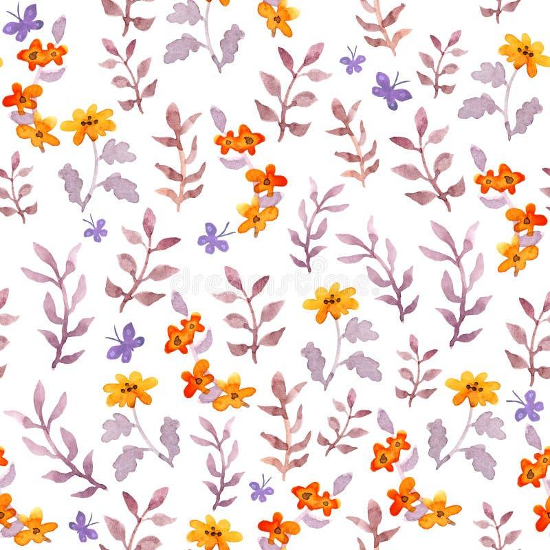 无缝的天真花卉背景 逗人喜爱的花,叶子,蝴蝶 水彩 向量例证