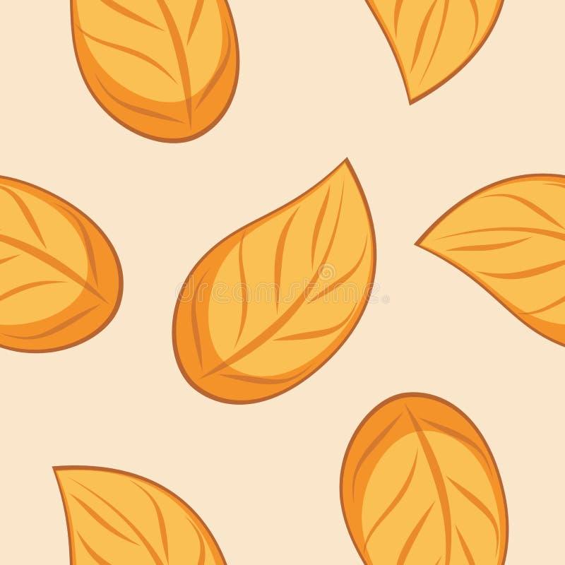 无缝的套设计的秋天叶茂盛纹理 库存例证