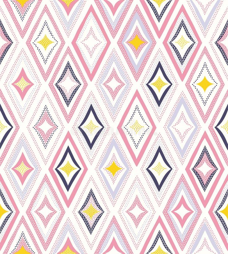 无缝的嬉戏的创造性的样式 时髦的小点乱画菱形五颜六色的背景 向量例证