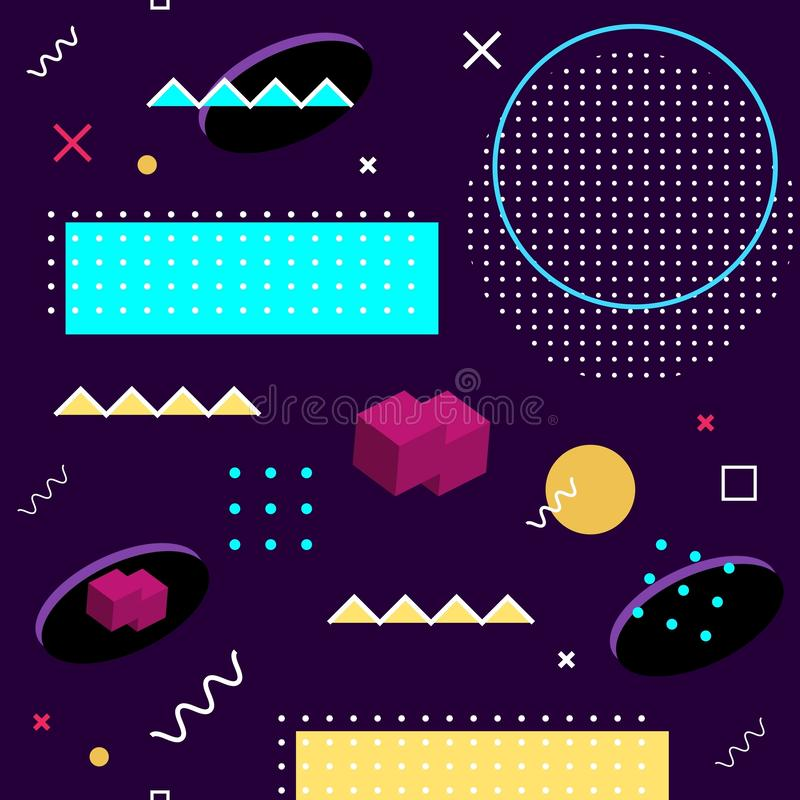 无缝的孟菲斯样式 几何形状的抽象传染媒介样式在紫色背景的 明亮的乐趣装饰设计元素 向量例证