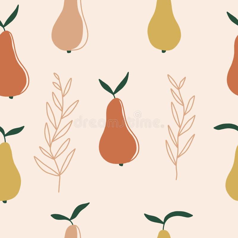 无缝的审美样式用橙色梨 现代新鲜水果背景 织品的,墙纸,包装的纸传染媒介印刷品 库存例证
