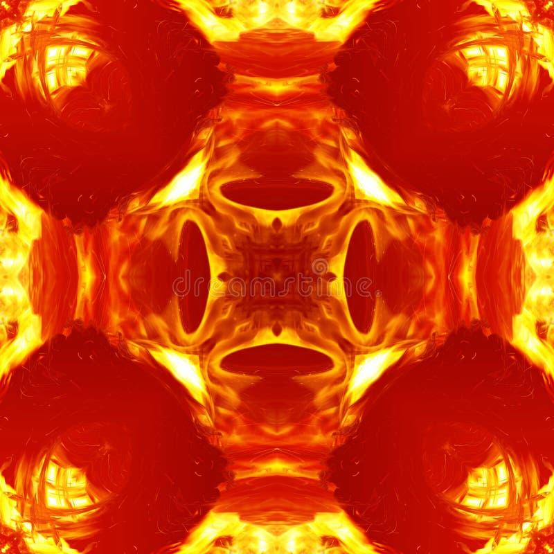 无缝的对称样式摘要温暖的火纹理 库存例证