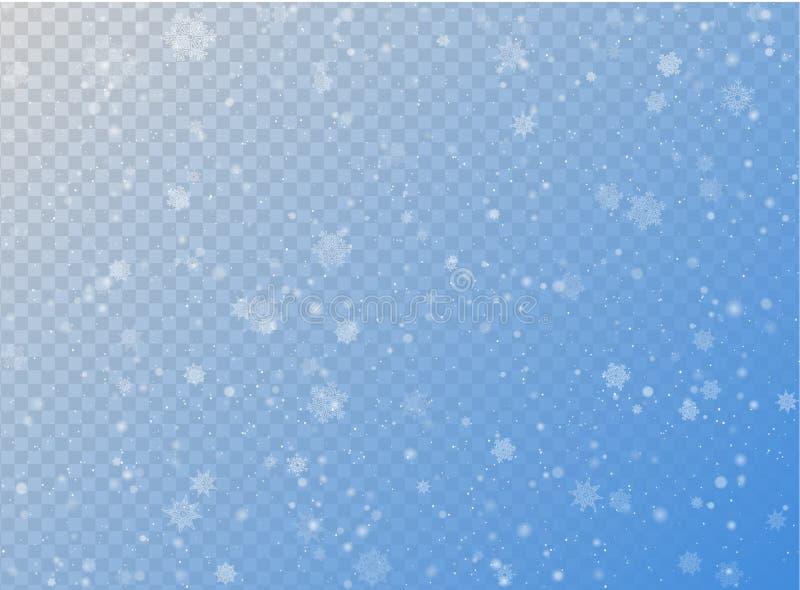 无缝的对蓝色透明水平的背景的传染媒介白色降雪作用 覆盖物雪剥落圣诞节或新年冬天 皇族释放例证