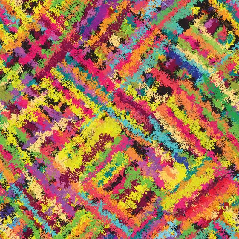 无缝的对角难看的东西镶边和被弄脏的彩虹样式 向量例证