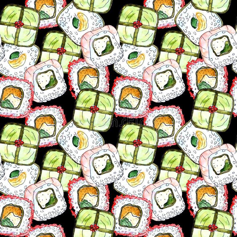 无缝的寿司样式 向量例证