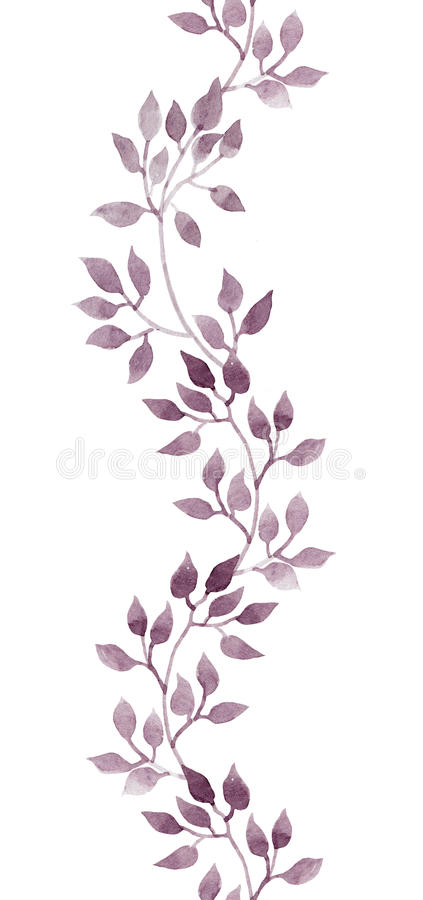 无缝的小条边界-手画水彩叶子 被重复的模式 库存例证