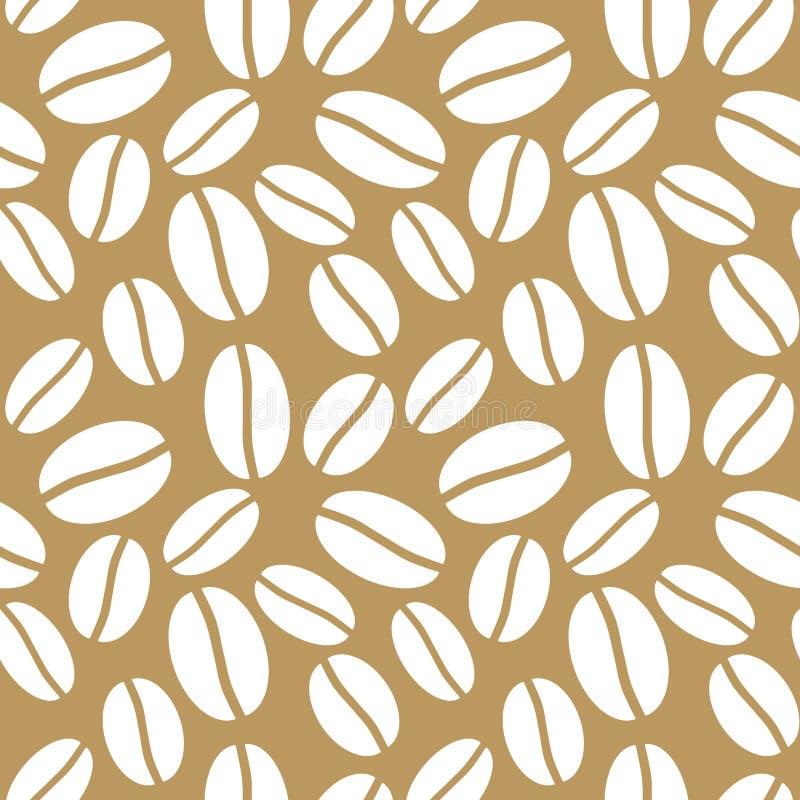 无缝的布朗咖啡豆背景 向量例证