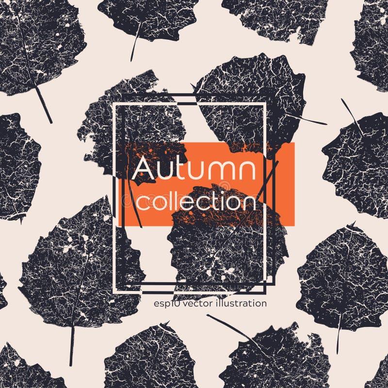 无缝的年迈的黑秋叶印刷品 在轻的背景的传染媒介单色例证 原始的花卉样式 向量例证