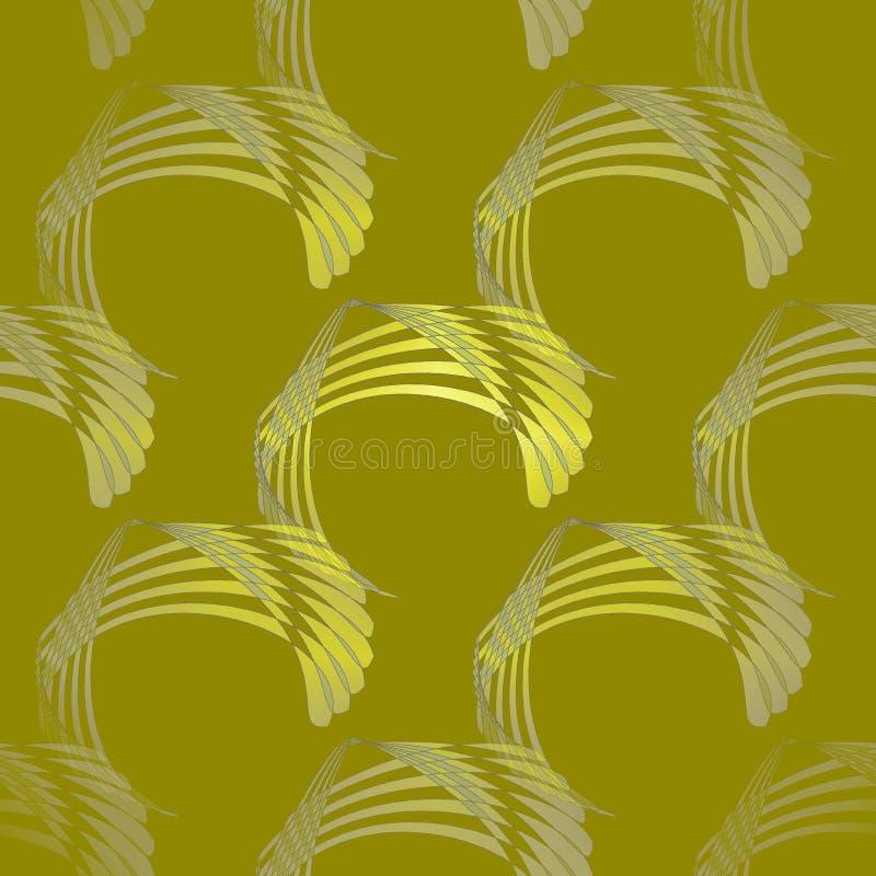 无缝的弯曲的条纹仿造黄色橄榄绿灰色对角地 库存例证
