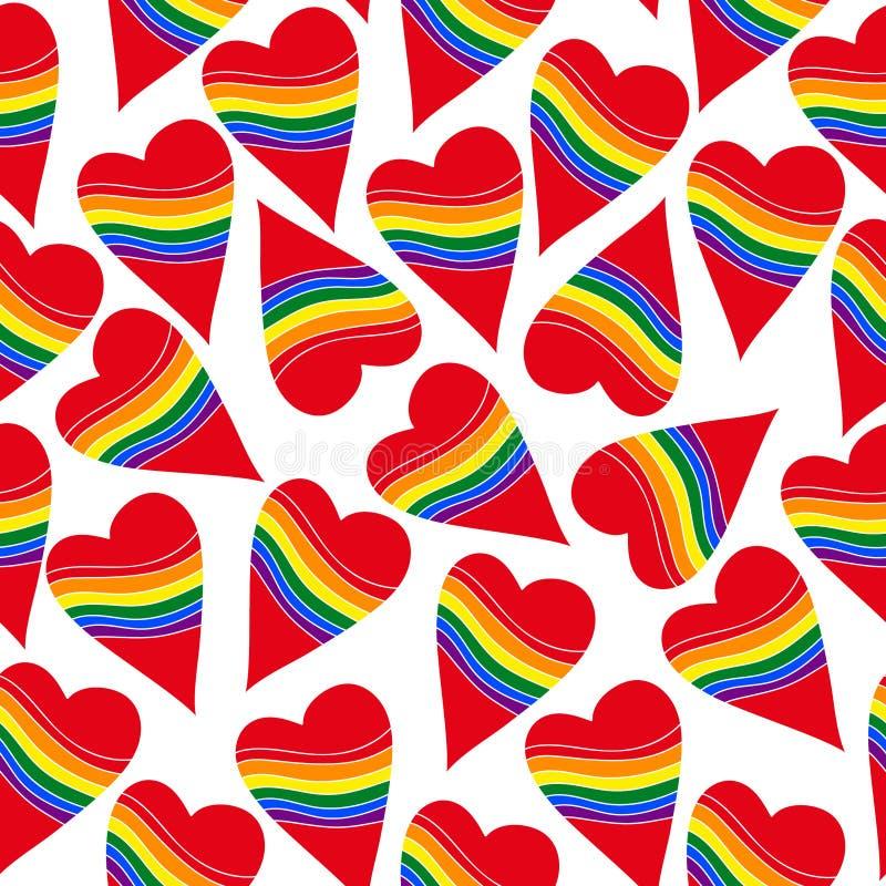 无缝的心脏彩虹同性恋者 皇族释放例证