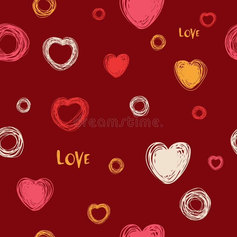 无缝的心脏样式,手拉的剪影,传染媒介例证 爱 在乱画样式的浪漫爱背景 被隔绝的标志 库存例证