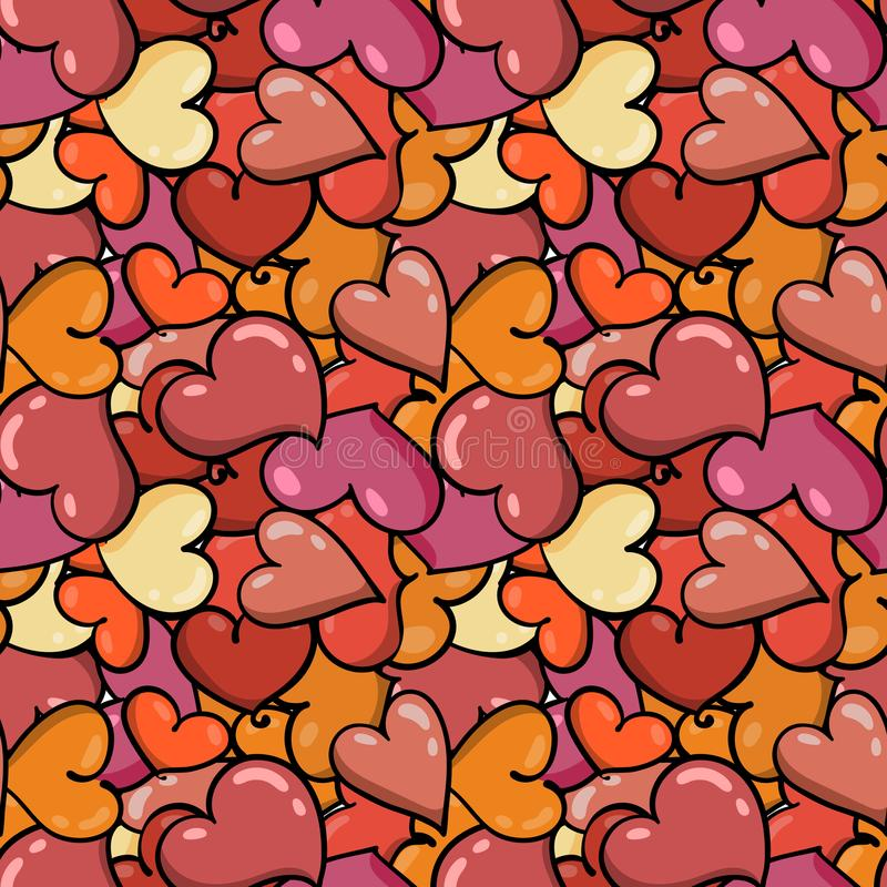 无缝的心脏背景对圣徒华伦泰` s天 库存例证