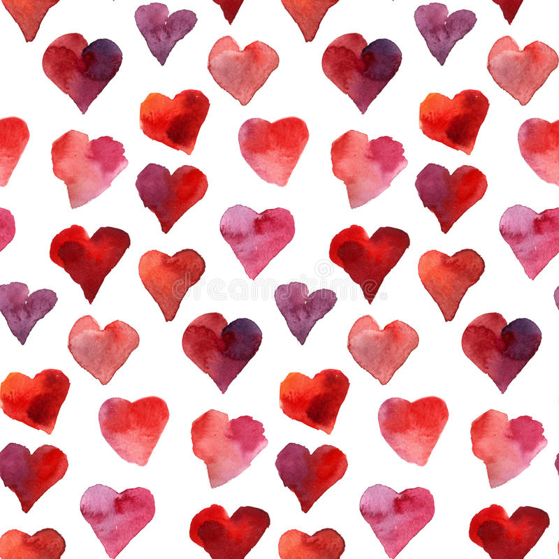 无缝的心脏水彩样式 皇族释放例证