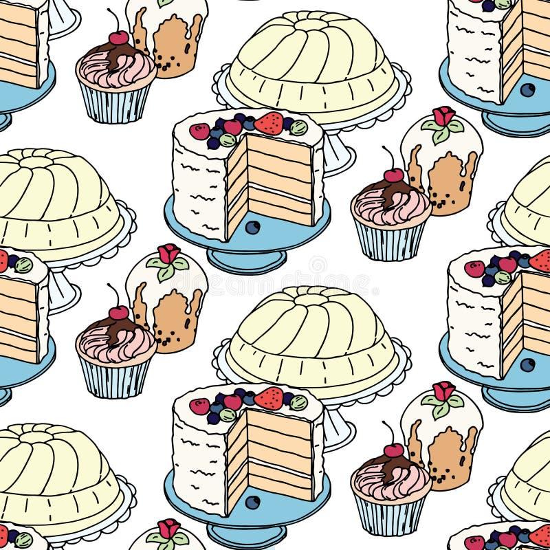 无缝的手拉的传染媒介样式 蛋糕和杯形蛋糕在蓝色背景 皇族释放例证