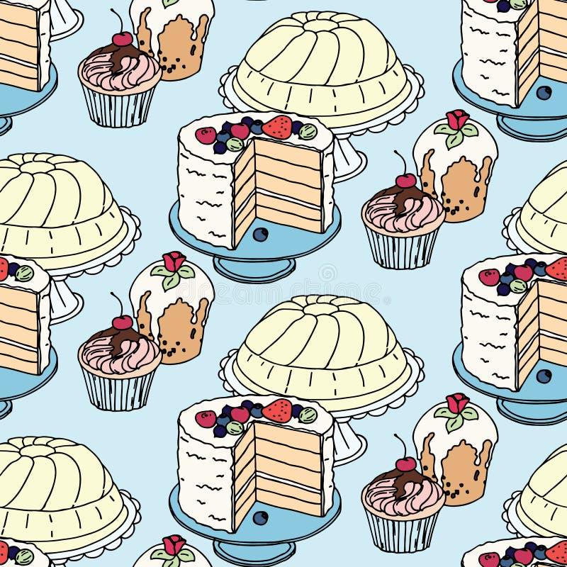 无缝的手拉的传染媒介样式 蛋糕和 皇族释放例证
