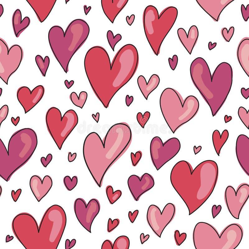 无缝的手拉的心脏样式在红色和桃红色树荫下  向量例证