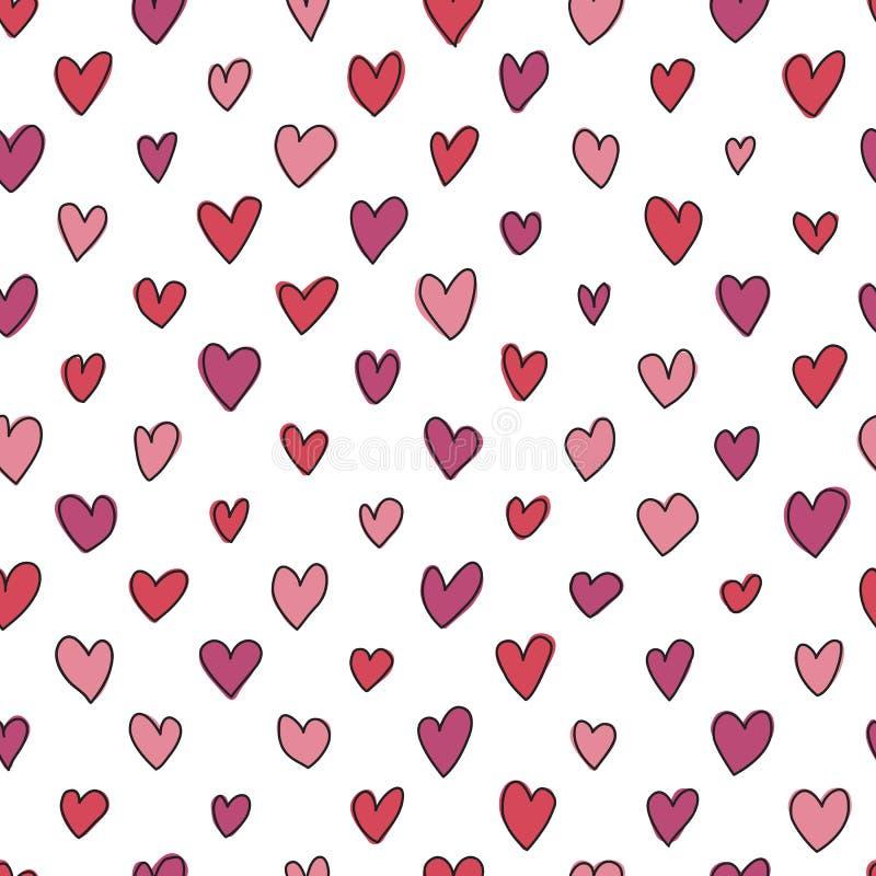 无缝的手拉的心脏样式 库存例证