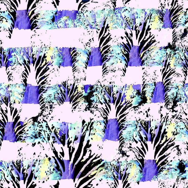 无缝的手拉的水彩样式 墙纸的,瓦片,纺织品,织品,包裹,包装,伪装印刷品明亮的设计 向量例证