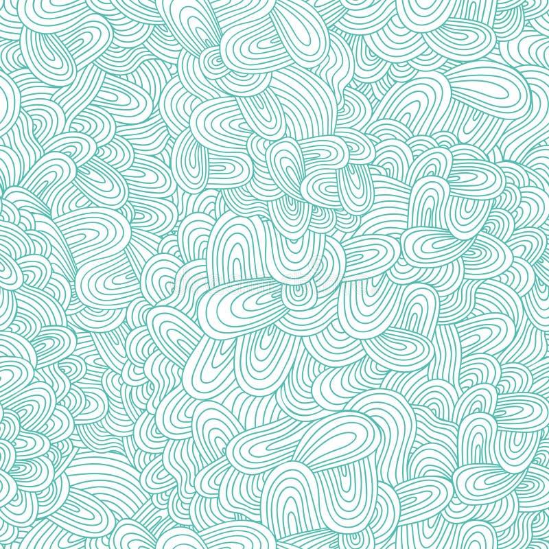 无缝的手拉的波浪纹理 向量例证