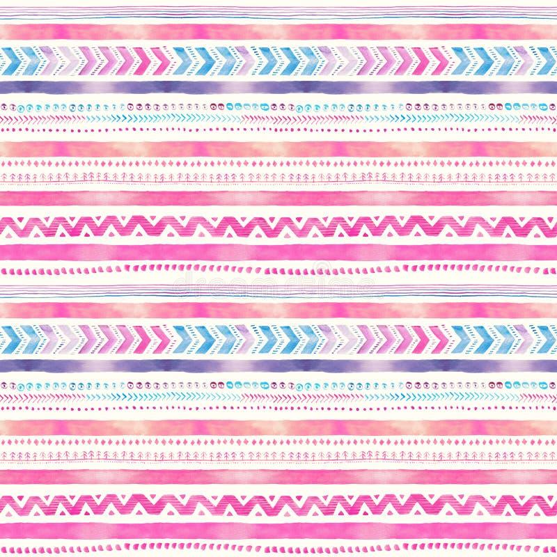 无缝的手拉的水彩种族部族装饰样式 向量例证