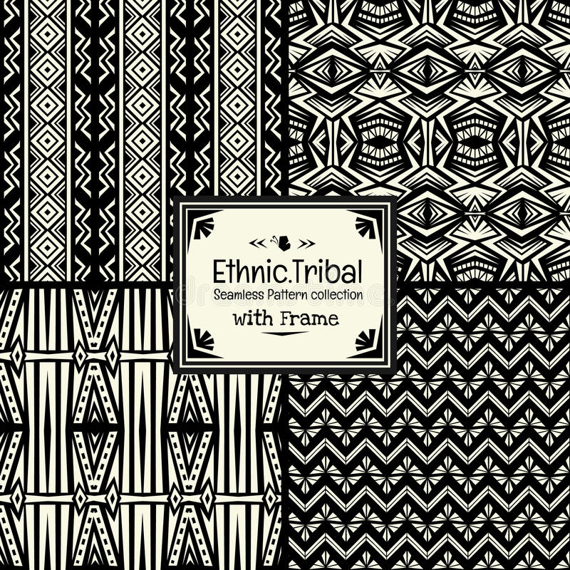 无缝的抽象与框架的样式部族种族样式收藏 免版税库存照片