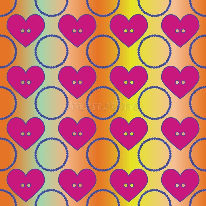 无缝的抽象减速火箭的样式 圈子和心脏在几何布局 皇族释放例证