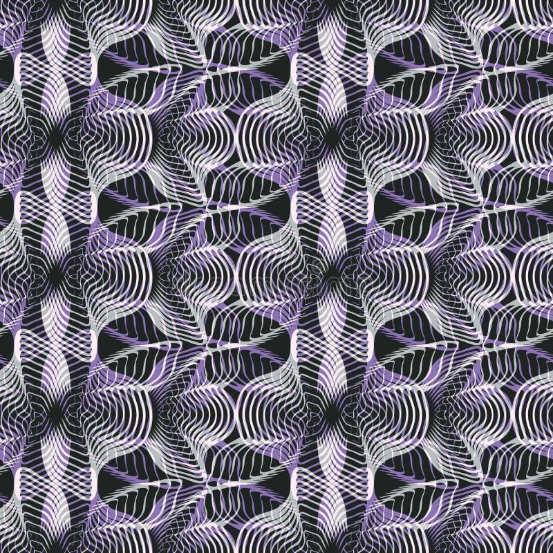 无缝的抽象减速火箭的样式 被混和的曲线和线在几何布局 库存例证