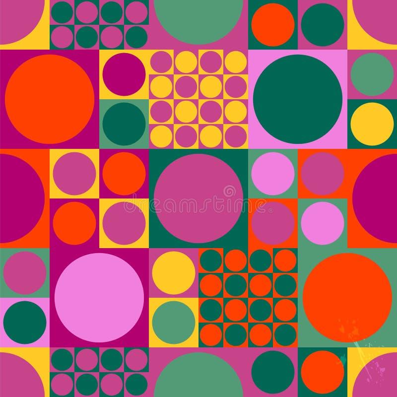无缝的抽象几何流行艺术背景样式,减速火箭/葡萄酒60样式, 皇族释放例证