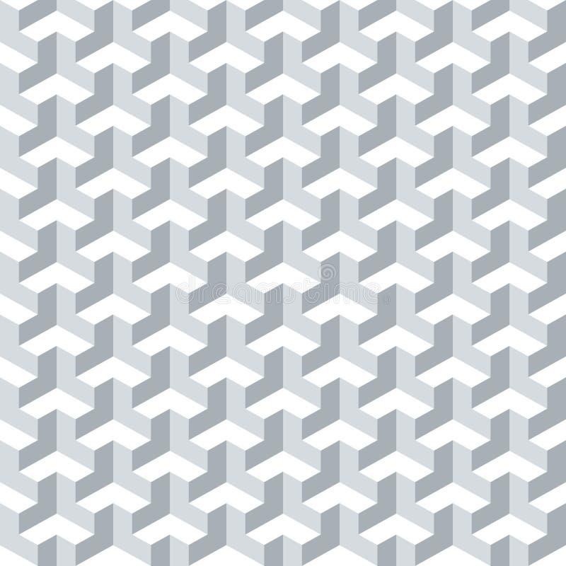 无缝的抽象几何等量立方体表面样式背景纹理 库存例证