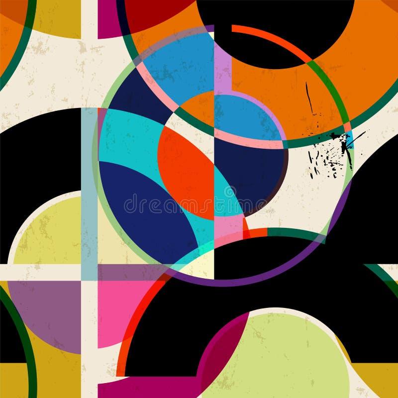 无缝的抽象几何背景样式,减速火箭/葡萄酒样式,传染媒介 库存例证