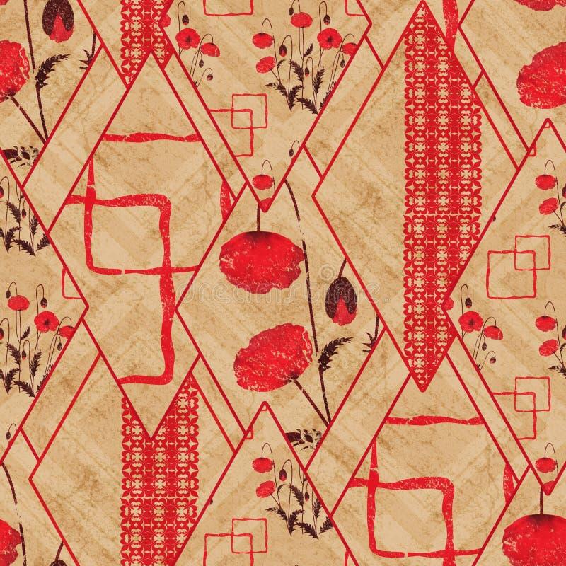 无缝的抽象几何,花卉样式 红色,米黄背景 补缀品 向量例证