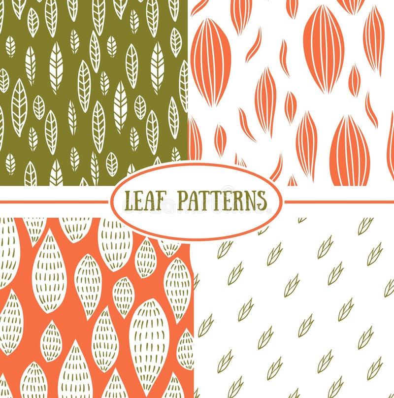 无缝的抽象叶子秋天样式 皇族释放例证