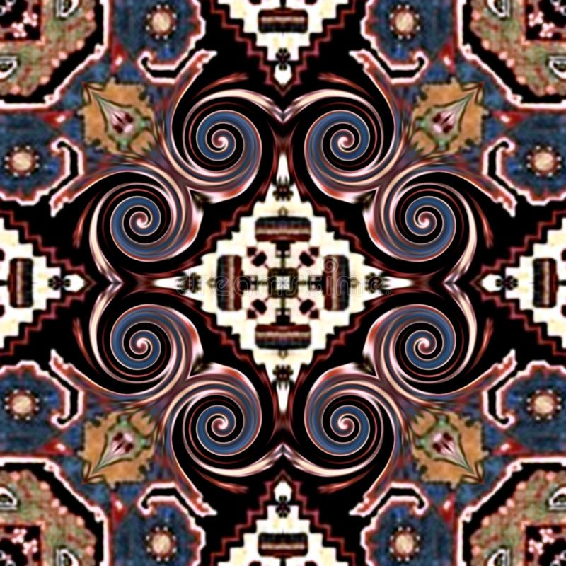 无缝的抽象在织地不很细帆布五颜六色的花装饰设计的葡萄酒背景色的马赛克对称样式 库存照片